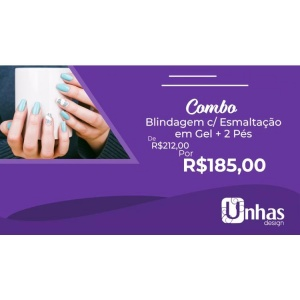 COMBO 6: BLINDAGEM COM ESMALTACAO EM GEL + 02 PES